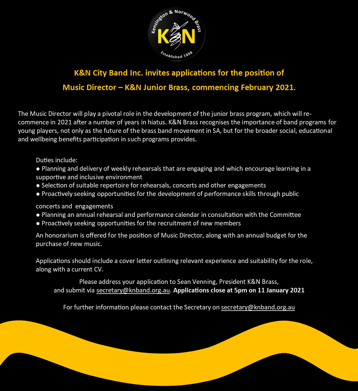 K&N Youth Brass 2021 - Musical Director position available
